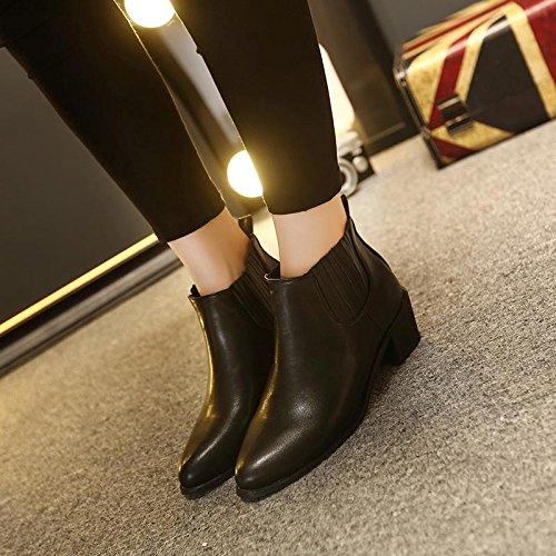 LvYuan-mxx Bottes femme court / Été et le printemps / élastique / Talon Chunky / orteil rond / Bureau et Carrière / Vêtements / Casual / chaussures à talons hauts 36-BLACK