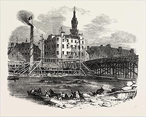 Photographic Print Of Laying The First Stone Of Tile Victoria Bridge, Glasgow, Uk, 1851 Engraving