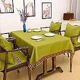 CCILOVE Mantel de lino estilo moderno minimalista encajes de paño de color sólido, de un verde profundo,140*180 cm