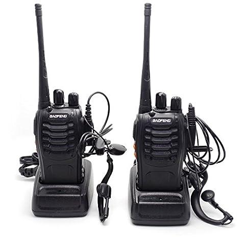 Ammy® Baofeng BF-888S UHF FM Transceiver éclairage Haute Lampe de Poche Talkie Walkie Two-Way Radio + 2 Earphones (2pcs)