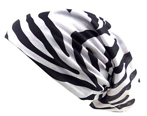 Stoff-Mütze schwarz-weiss Beanie-Kopftuch Herren Damen Kinder Allzweck-Tücher mit Zebra-Motiv 18fach Universal Nickituch Halloween Fasching Mundschutz Bandana Biker Halstuch Header Armband 5613