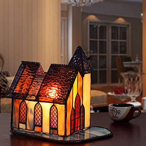 CCSUN Klein Tiffany Stil Tischlampe Dekor Lampe, Retro Kind Tischleuchte E14 Glasmalerei Haus Form Tabelle Licht-c -