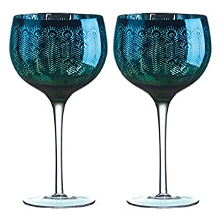 Artland Peacock Gin Glasses, Multi-Colour, 11.5 x 11.5 x 22 cm