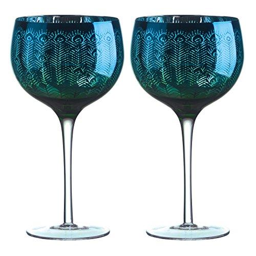 Artland Peacock Gin Glasses, Multi-Colour, 11.5 x 11.5 x 22 cm