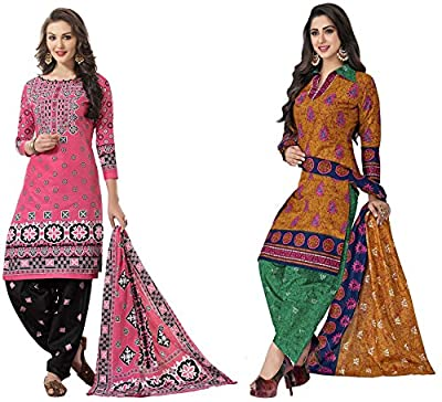 Hrinkar Pink And Brown Cotton Prints With Solid Contrasts Salwar Suit Dupatta Or Churidar Suit For Women Latest Design And Style ( Material Unstitched ) Combo Pack Of 2 Dress - HKRCMB1553