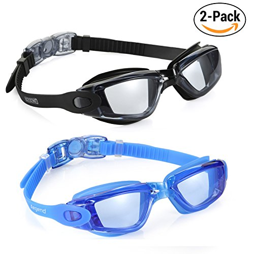 Aegend Pack of 2(Light Grey Lenses&Blue Light Coloured Lenses) Triathlon-Schwimmbrille, verspiegelt, dicht