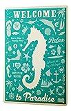 Blechschild Retro Wand Deko Schild Welcome to paradise Seepferdchen 20X30 cm