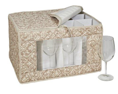 HOMEWEAR Hudson Damast Tan Goblet Stielglas Speicher für 12Gläser, 13von 16,5von 26,7cm - Damast-speicher