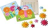 HABA 303871 - Zahnradspiel Tiere im Garten | Motorikspielzeug mit 4 verschiedenen Hintergrundbildern und bunten Zahnrädern zum Zusammenstecken | Spielzeug ab 2 Jahren