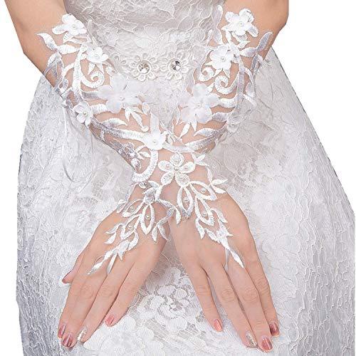 ange Damen Handschuhe aus Spitze mit Strass - Stulpen Weiß in Einheitsgröße für Frauen, Hochzeiten, Opern, Veranstaltungen, Fasching, Karneval, Tanzen, Halloween ()