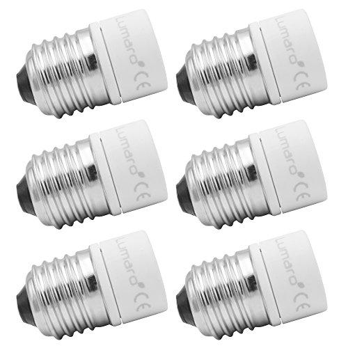 Lumaro Lampensockel Adapter von E27 auf GU10 Leuchtmittel Fassung Ultra Slim Keramik 6er Set