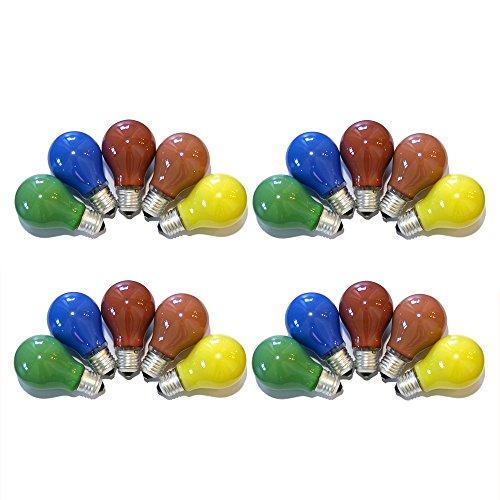 20er Set Glühbirnen farbig gemischt 25W E27 Rot Gelb Grün Blau Orange für Außen & Innen - Party & Biergarten -
