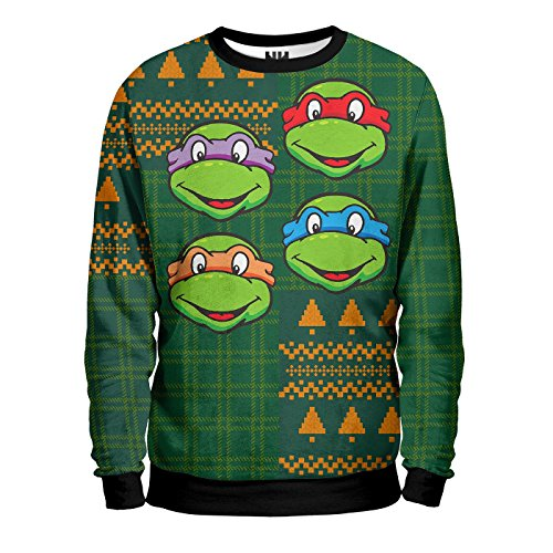 TARTARUGHE NINJA CHRISTMAS - Teenage Mutant Ninja Turtles Sweatshirt Man - Felpa Uomo Natale - TMNT T-Shirt Cartoni Cartoon
