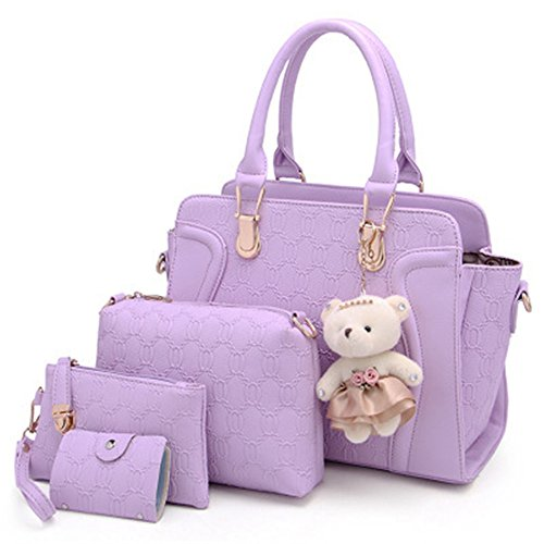 women-4-pieces-leather-handbags-clutches-shoulder-bag-wallet-card-bag-set-purple