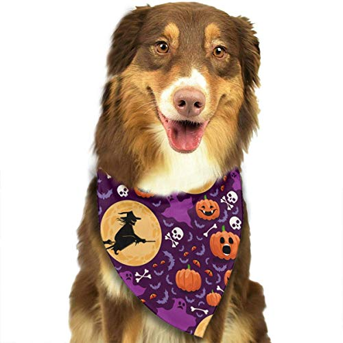 Wfispiy Halloween with Pumpkins Witches and Ghosts Pet Dog Bandanas Triangle Bibs Scarf Accessories for Medium to Large Size