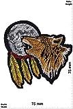 Patch-Iron-Wolf - Mond - Indianer - heulender Wolf - Indianer - - Spirit - Indianer - Iron On Patches - Aufnäher Embleme Bügelbild Aufbügler