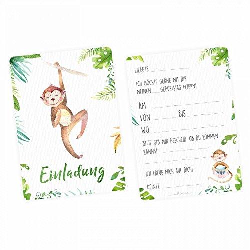 nikima Schönes für Kinder - 5 Einladungskarten Affe Dschungel Grün inkl. 5 Transparenten Briefumschlägen Kinder Geburtstag Mädchen Junge Einladung Feier Aquarell (Einladungen Safari-geburtstags-party)