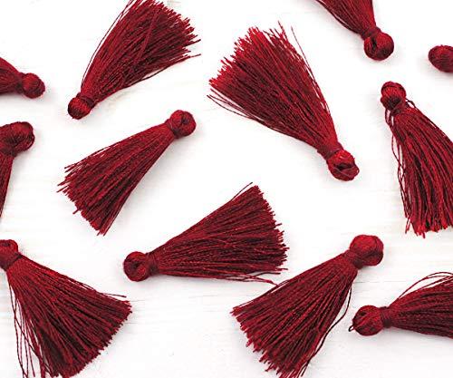 12pcs Bordeaux Roten Satin-Baumwoll-Mini-Quasten-Anweisung Quaste Für Schmuck, Ohrringe 35mm - Bordeaux-mini-anhänger