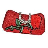D DOLITY Sac À Main Femme Sac Sangle Bretelle Western Mode Sac Fleur Dessin Moderne - Rouge, comme Décrit