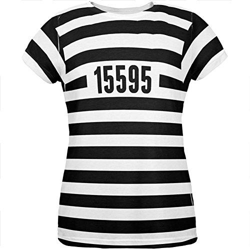Halloween Gefangenen Alten Zeit Gestreifte Kostüm Aller Damen T Shirt Multi LG