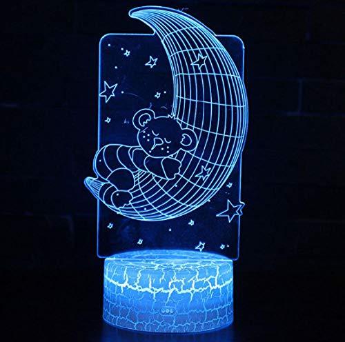 ZJFHL Mond Bär Thema 3D Lampe LED Nachtlicht 7 Farbwechsel Touch Stimmung Lampe Weihnachtsgeschenk (Star Wars Bar-thema)