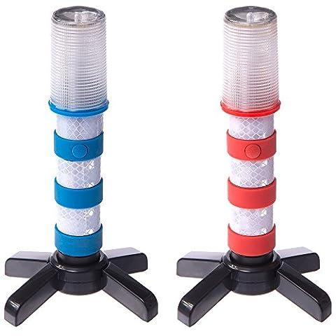 Magnatek LED Flashing Roadside Emergency Beacon Flares-Two RED/BLUE Flares with Solid Storage Case