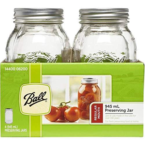 945-ml-Einmachgläser mit Ball Mason-Schriftzug und regulärer Glasmündung sowie Rezepteinsatz (4er-Pack)