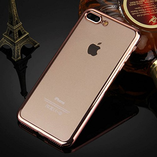 Hülle für iPhone 7 plus , Schutzhülle Für iPhone 7 Plus galvanisieren transparente weiche TPU Schutzhülle ,hülle für iPhone 7 plus , case for iphone 7 plus ( Color : Silver ) Rose Gold