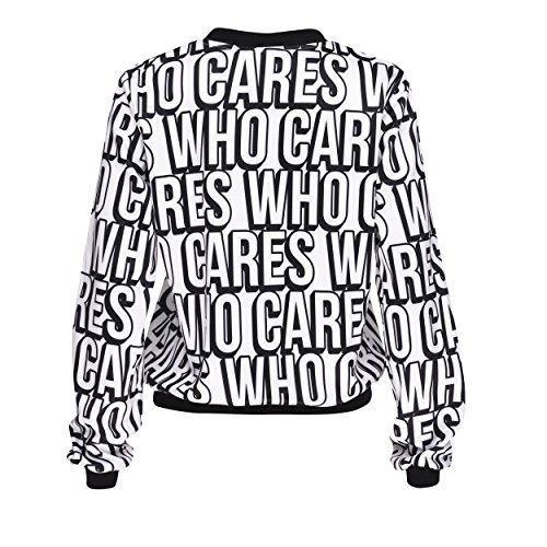 Who Cares Damen Kleidung Printed Bomberjacke Baseballjacke Wendejacke Pilotenjacke Retro Fliegerjacke Daunenjacke Baseball Jacke Collegejacke Bomber One Size WHO CARES