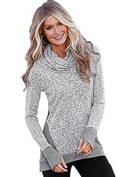 OverDose Camiseta larga larga floja de las tapas del suéter largo ocasional de la manga de las mujeres