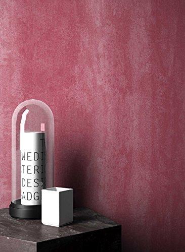 NEWROOM Tapete Streifen Rot Putz Beton Uni Vliestapete Vlies Struktur Bauhaus inkl. Tapezier Ratgeber   Streifentapete
