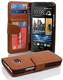 Cadorabo Hülle für HTC One M7 (1. Gen.) Hülle in Cognac braun Handyhülle mit 3 Kartenfächern Case Cover Schutzhülle Etui Tasche Book Klapp Style Cognac-Braun