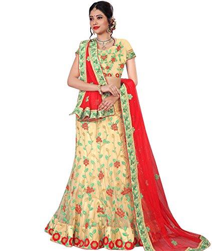 Indian Ethnicwear Bollywood Pakistani Wedding Beige A-Line Lehenga Semi-stitched-MAL53782