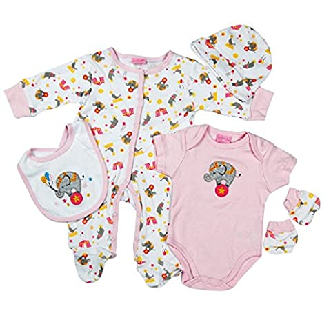 5 Piece layette Set Clothes Packs for Baby Boys Girls Infants Unisex Newborn Outfits Christening Christmas Birthday Gifts Sets 100% cotton 0 0-3 3-6 months White Pink Cute Elephant