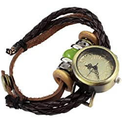 sourcingmap® Ethnic-style Beads Detailing Press Stud Button String Wrist Watch