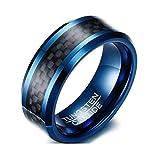 Jiedeng Schmuck Unisex Ringe aus Wolframcarbid Ring mit Karo Muster Partnerringe Verlobungsringe Ehering Trauringe für Damen-Ring, Herren-Ring Schwarz Blau Größe 62 (19.7)