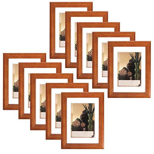 10er Set Bilderrahmen Fotogalerie, 9401-10 , Holz Rahmen , mit Glasscheibe , mit Passepartout, Artos Weiß, 10x15 cm