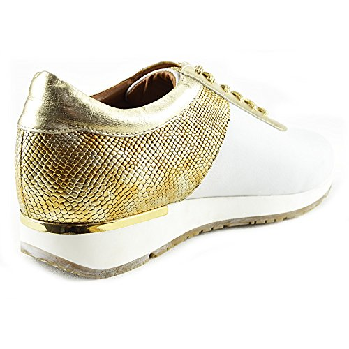Citystyle4you - Chaussures De Sport En Dentelle Or Métallisé Pour Femme Chaussures De Sport En Cuir Blanches Décontractées