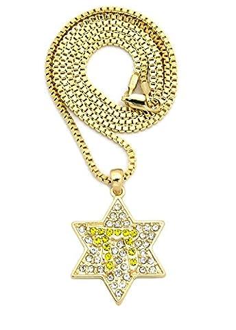 Superbe collier de ton or à pendentif d'étoile Chai couverte