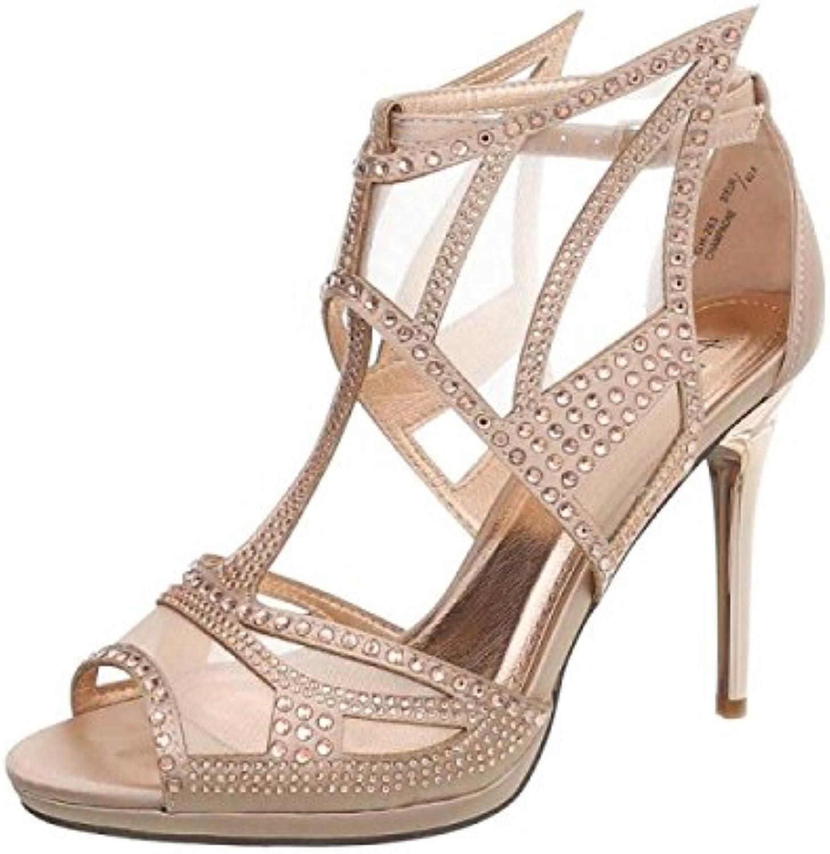 Zapatos de Mujer de Cuero sintético Sandalias de Verano Zapatillas de Punta Abierta Zapatos de Tacón Alto para... -