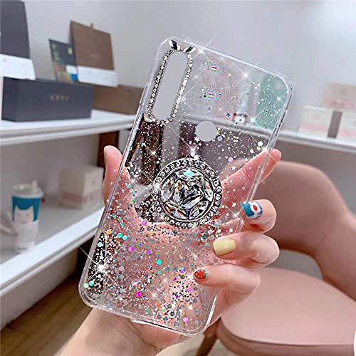Uposao Kompatibel mit Huawei P Smart Z Hülle Glitzer Mädchen Frauen Diamant Glänzend Strass Bling Schutzhülle Silikon Clear Durchsichtige Hülle Weich TPU Tasche mit Ring Ständer,Klar