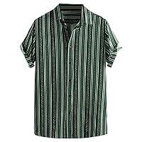 Lazzboy Men Shirt Top Multicoloured Stripes/Colour Block Plus Size Graffiti Short Sleeve Buttons Baggy Loose Blouse(L,Green-Ethnic Ⅳ)