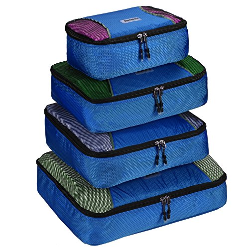 Homdox 4pcs Kleidertasche Packwürfel Aufbewahrungstasche Kleidertaschen Packtaschen Koffer mit Wäschesack Packing Cubes (Grün) Hellblau