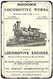 qidushop Brooks Locomotive Works Vintage Reproduktion Metall Blechschilder für Heimdekoration, Wandposten, Einweihungsgeschenk, 20 x 30 cm