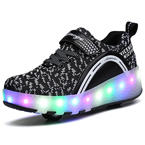 ADREAMONE Unisex Schuhe mit Rollen Kinder Skateboard Schuhe Rollschuh Schuhe LED Light Wheels Sneakers Outdoor-Trainer für Junge Mädchen (EU 38, AMG/Schwarz/Shuang)