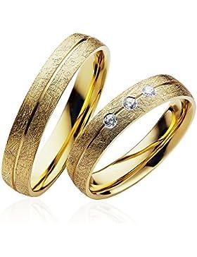 Eheringe Partnerringe Trauringe Verlobungsringe Freundschaftsringe in Gold Plattiert 4mm Breit *mit Gravur und...