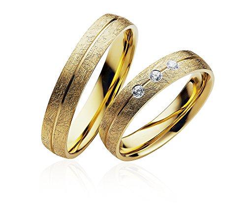 2x Eheringe Partnerringe Trauringe Verlobungsringe Freundschaftsringe in Gold Plattiert 4mm Breit *mit Gravur und 3 Steinen*P904