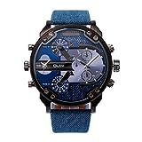 Dual tiempo Reloj de pulsera - OULM Hombres lujo militar ejercito dual tiempo cuarzo dial grande reloj de pulsera azul claro