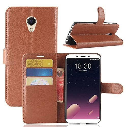 Kihying Hülle für Meizu M6s / Meilan S6 Hülle Schutzhülle PU Leder Flip Wallet Fashion Geschäft HandyHülle (Brown - JFC01)