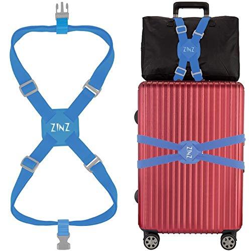 ZINZ da viaggio cinghie ad alta elasticità bagagli imballaggio cintura valigia cinghie regolabile sicurezza (80cm-240cm Blu)